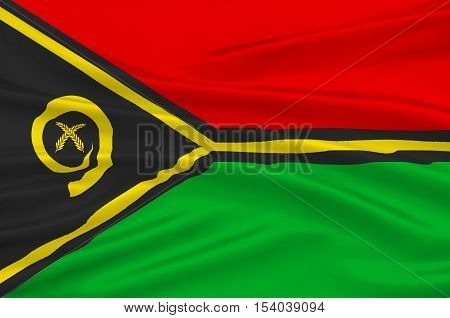 Flag of Vanuatu Melanesia, Port Vila. 3d illustration