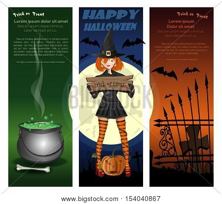 Halloween night backgrounds set with girl in witch costume on a background of the full moon, pumpkin, jack-o'-lantern, cemetery and magic cauldron. Vector illustration