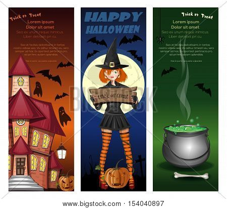 Halloween night backgrounds set with girl in witch costume on a background of the full moon, house with the ghosts, jack-o'-lantern, cemetery and magic cauldron. Vector illustration