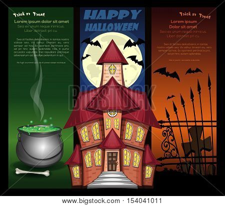 Halloween night backgrounds with haunted castle on the background of the full moon, bats, jack-o'-lantern, pumpkin, cemetery and magic cauldron. Vector illustration