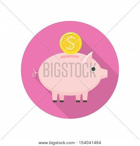 Piggybank with gold coin vector icon in flat style. Savings, bank deposit, pension concept.