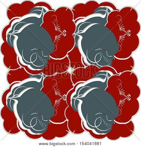 Decoration vintage element. Floral style. Red and grey