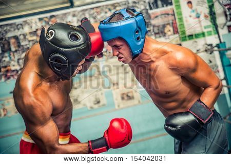 Two boxer sparring on the ring - Athletes training in a boxe gym