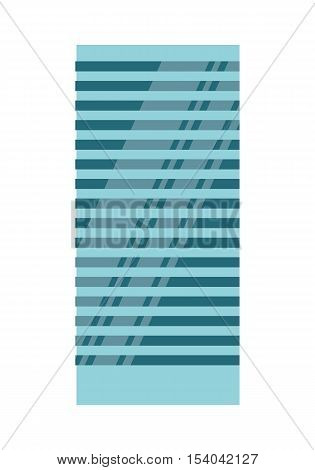 Blue modern apartment building. Architecture apartment icon, building residential, business multistory building, office building. Isolated object on white background. Vector illustration.