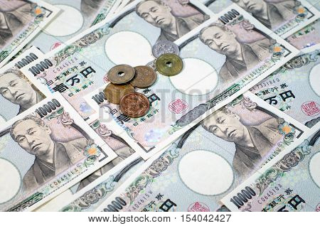 Japanese Yen Coin And Yen Bank Note, Money Background