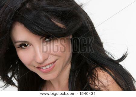 Frau zerzauste Haare