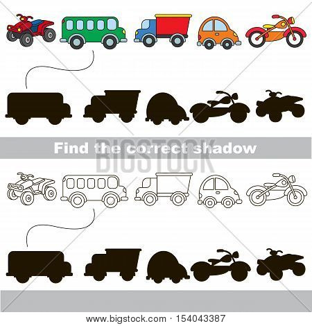 Wheel vehicles set with shadows to find the correct one. Compare and connect objects and their true shadows. Easy educational kid gaming. Simple level of difficulty. Logic game for children.