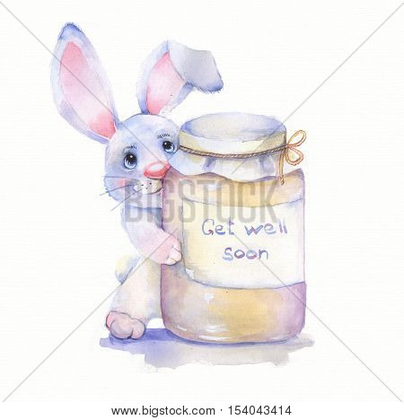 Get well soon 1. Watercolor card with rabbit. Isolated on white background