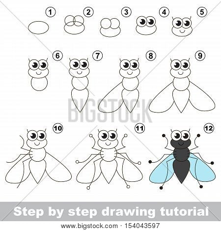 Drawing tutorial for children. Easy educational kid game. Simple level of difficulty. How to draw the Funny fly