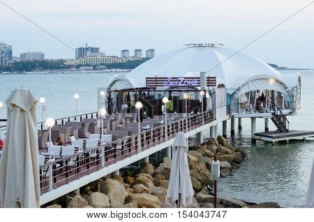 Gelendzhik Krasnodar region Russia - August 25 2016. Cafe on the beach.
