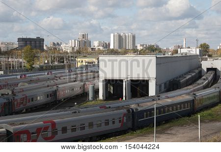 MOSCOW RUSSIA OCTOBER 01. 2016: - Ostankino railway station and depot Oktyabrskaya (Oktober) railroad view from Krestovskiy bridge