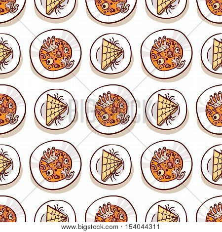 Sandwich with spiders and soup with eyeballs, dead man hand and tentacle. Halloween meal seamless pattern on white. Dips with scary food, top view. Hand drawn sketchy background