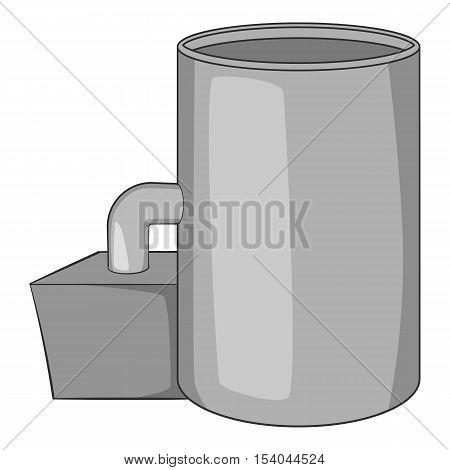 Oil refinery plant icon. Gray monochrome illustration of oil refinery plant vector icon for web design