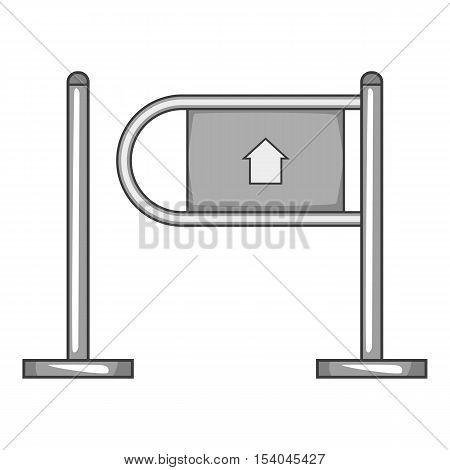 Shop entrance gate icon. Gray monochrome illustration of shop entrance gate vector icon for web design