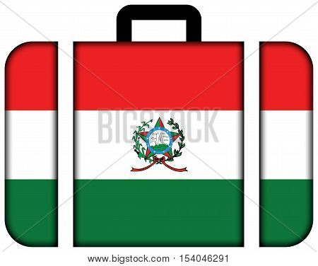 Flag Of Afonso Claudio, Brazil. Suitcase Icon, Travel And Transportation Concept