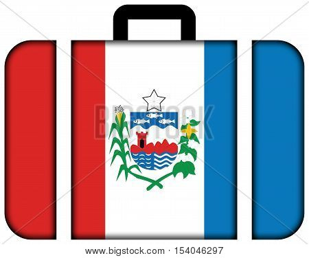 Flag Of Alagoas State, Brazil. Suitcase Icon, Travel And Transportation Concept