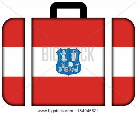 Flag Of Asuncion, Paraguay. Suitcase Icon, Travel And Transportation Concept