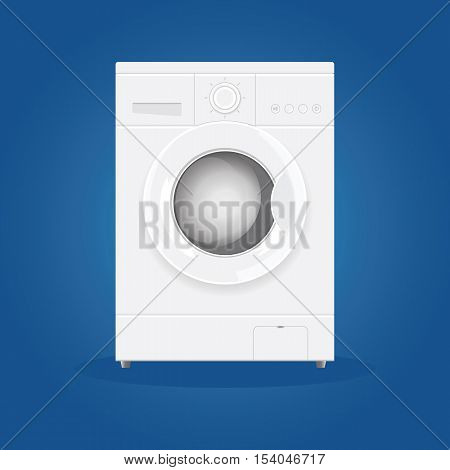 Washing machine on a blue background. Equipment for washing. Vector illustration.