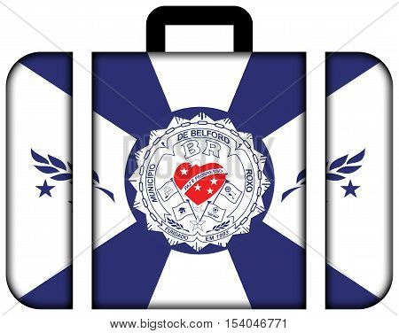 Flag Of Belford Roxo, Brazil. Suitcase Icon, Travel And Transportation Concept