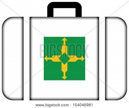 Flag Of Brasilia, Distrito Federal, Brazil. Suitcase Icon, Travel And Transportation Concept