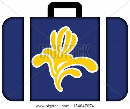Flag Of Brussels Region, Belgium 1991 - 2015. Suitcase Icon, Travel And Transportation Concept
