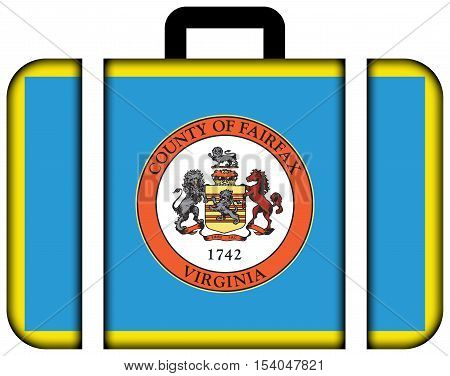 Flag Of Fairfax County, Virginia, Usa. Suitcase Icon, Travel And Transportation Concept