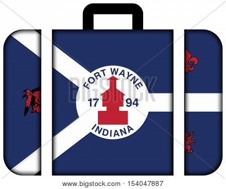 Flag Of Fort Wayne, Indiana, Usa. Suitcase Icon, Travel And Transportation Concept