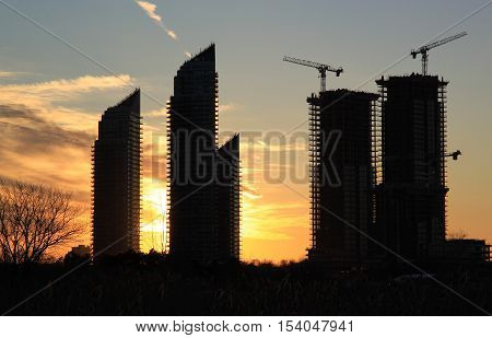 High rise buildings at sunset near Lake Ontario, Toronto, Canada