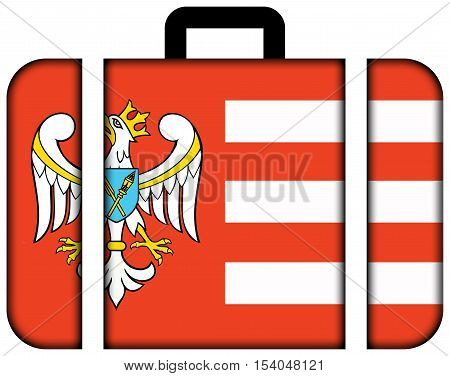Flag Of Gniezno County, Poland. Suitcase Icon, Travel And Transportation Concept