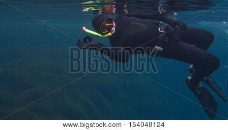 Underwater portrait of a man showing ok , freediving, lake