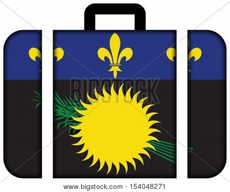 Flag Of Guadeloupe (local), France. Suitcase Icon, Travel And Transportation Concept