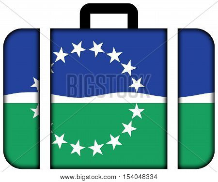 Flag Of Hampton Roads, Virginia, Usa. Suitcase Icon, Travel And Transportation Concept