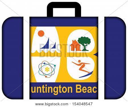 Flag Of Huntington Beach, California, Usa. Suitcase Icon, Travel And Transportation Concept