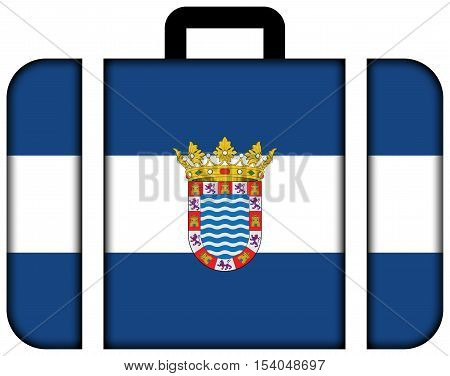 Flag Of Jerez, Andalusia, Spain. Suitcase Icon, Travel And Transportation Concept