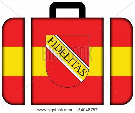 Flag Of Karlsruhe With Coat Of Arms, Germany. Suitcase Icon, Travel And Transportation Concept