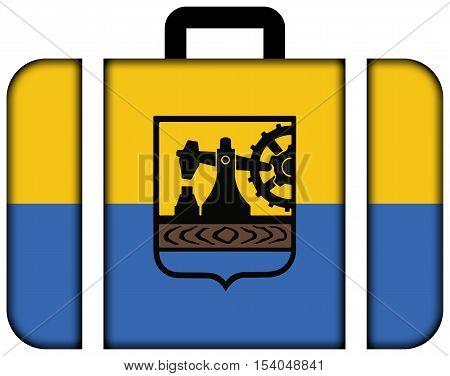 Flag Of Katowice, Poland. Suitcase Icon, Travel And Transportation Concept