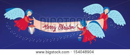 Christmas greeting card. Three red Christmas angels with blue wings flying on the dark background, carrying a lamp and a banner where they a writing Merry Christmas. Vector illustration.