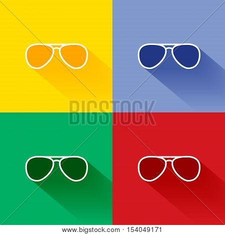 Trendy long shadow flat sunglasses icon set in four colors