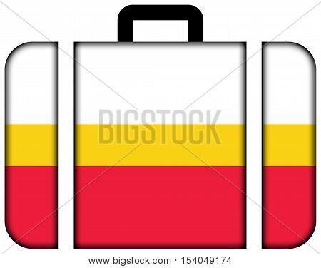 Flag Of Lesser Poland Voivodeship, Poland. Suitcase Icon, Travel And Transportation Concept