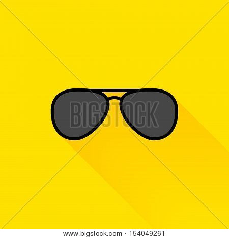 Black summer sunglasses flat long shadow icon design