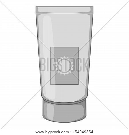 Sunscreen cream icon. Gray monochrome illustration of sunscreen cream vector icon for web design