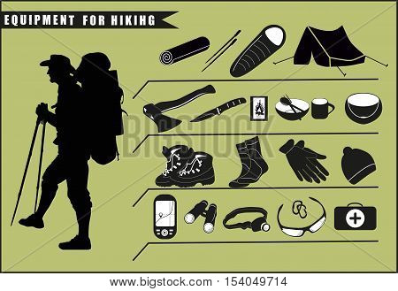 Set of travel gear icons. Silhouette of tourist with detail contents of his backpack. Vector Illustration