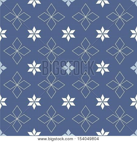 Abstract snowflakes and stars on a blue background Ethnic Scandinavian pattern Ethnic Scandinavian pattern Scandinavian Nordic pattern Folk art, Winter theme Winter seamless pattern Christmas quilt.