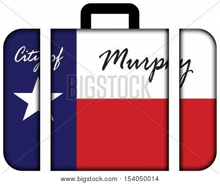 Flag Of Murphy, Texas, Usa. Suitcase Icon, Travel And Transportation Concept