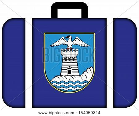Flag Of Opatija, Croatia. Suitcase Icon, Travel And Transportation Concept