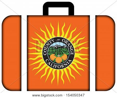 Flag Of Orange County, California, Usa. Suitcase Icon, Travel And Transportation Concept
