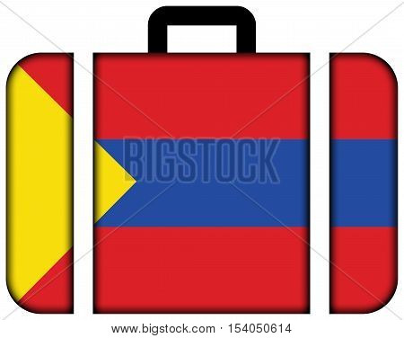 Flag Of Pasto, Colombia. Suitcase Icon, Travel And Transportation Concept