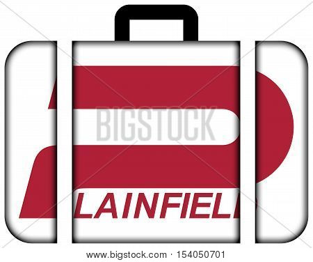 Flag Of Plainfield, Indiana, Usa. Suitcase Icon, Travel And Transportation Concept