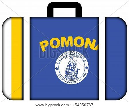 Flag Of Pomona, California, Usa. Suitcase Icon, Travel And Transportation Concept