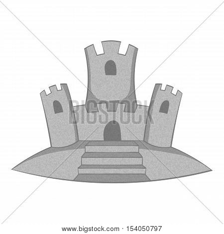 Sand castle icon. Gray monochrome illustration of sand castle vector icon for web design